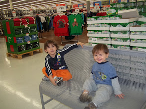Photo: The boys saw another bench and were sure they should sit down and get a picture (at every bench).
