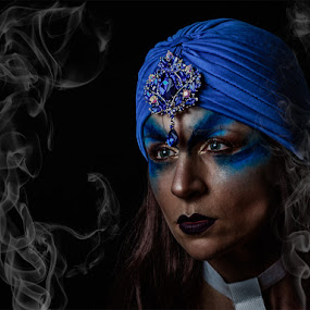 Mystical Amy by Vincent Yates - People Portraits of Women ( mystical, jewellery, blue eyes, blue hat, blue make up, smoke,  )