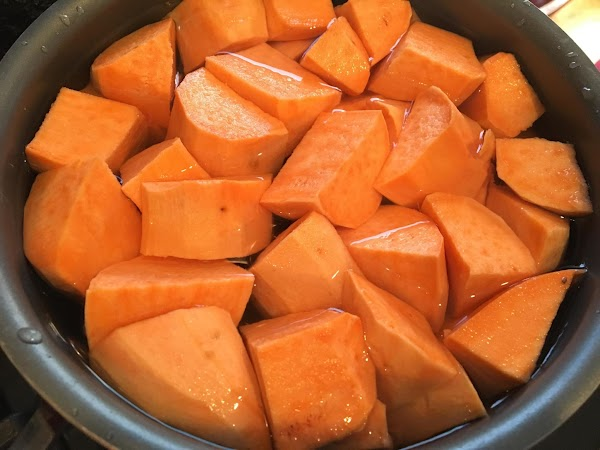 Cook your peeled and cubed sweet potatoes in enough water to cover, until fork...