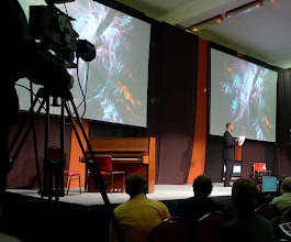 Photo: Scott Draves speaking at TEDx in Hungary, 2010.06.