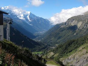 Photo: ... and arrive minutes later above the treeline with a great view of the Chamonix Valley. We have just avoided a grueling and pointless 1300 ft. climb through the forest---go Hawaiian Trail and Mountain Club!!