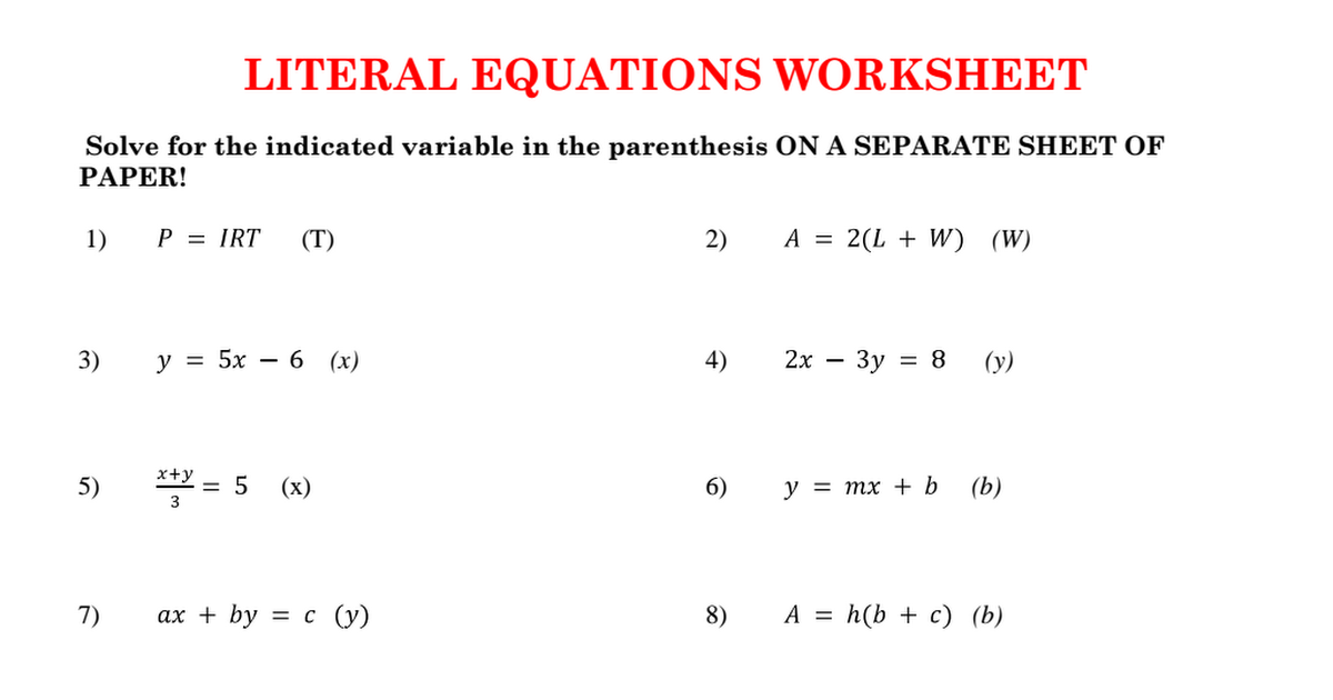 Literal Equations Worksheet: A CED 4 Literal Equations Worksheet pdf   Google Drive,