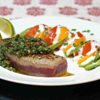 Seared Pepita Crusted Ahi Tuna with Chimichurri Sauce Recipe