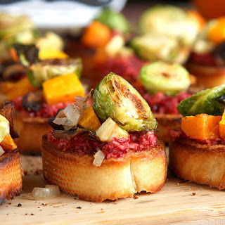 Roasted Root Vegetable Crostini with Cranberry Relish