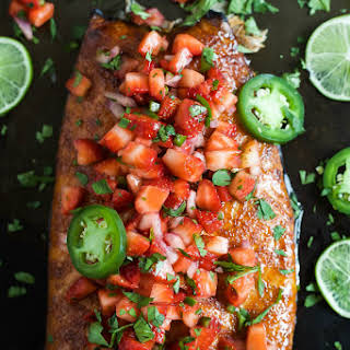Spice Rubbed Plank Salmon with Strawberry Salsa.