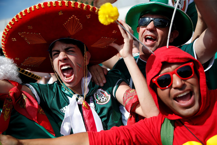 Mexico fans leave little doubt about their allegiances before their country's World Cup match against Germany in Moscow.