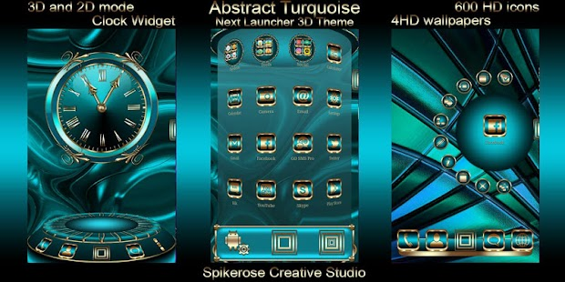 Abstract Turquoise 3D Next Launcher theme - náhled