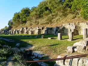 Photo: Apollonia flourished in Roman times - Stoa with 17 niches, probably stores, mid 4th century BC
