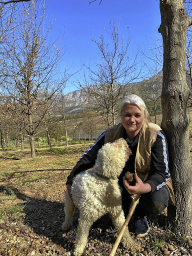 Hanene van Dyk and Dick, one of her Lagotto Romagnolo pack, in the truffle orchard at Altima.