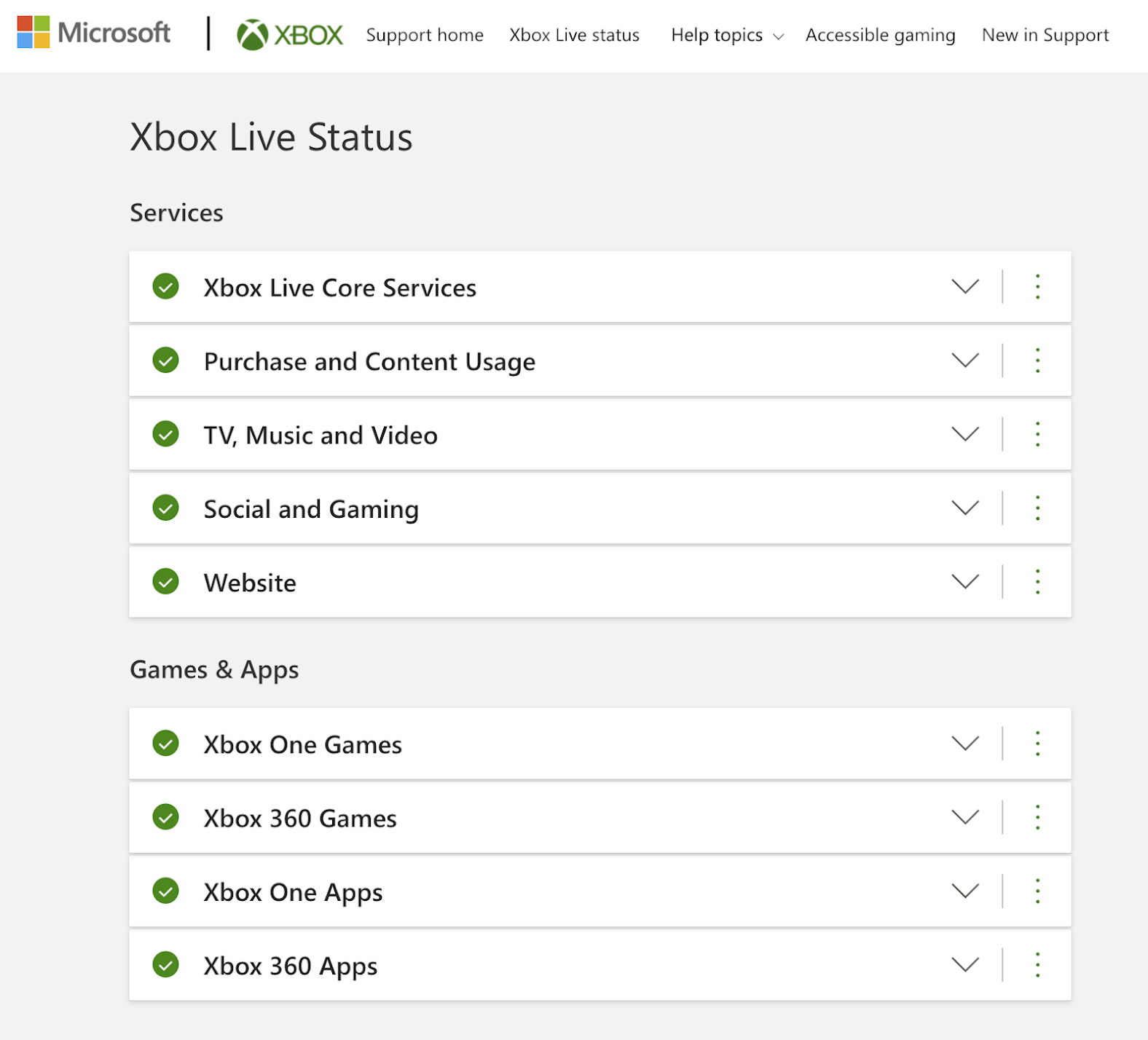 Xbox Live Status page