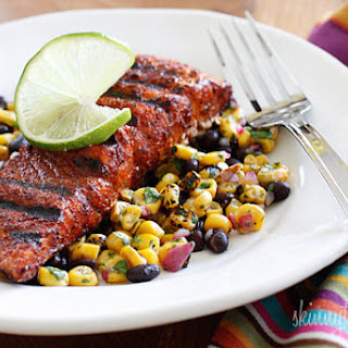 Smoky Spice Rubbed Grilled Salmon with Black Beans and Corn