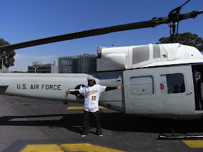 Photo: Up bright and early to grab some breakfast and then take a helicopter to the Air Force base!!!...