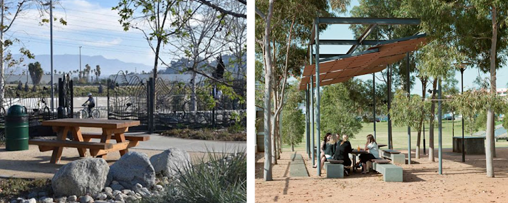 left: Lewis MacAdams Riverfront Park, photo via Andrew Pasillas/UCLA.  right: Photo via Hassell.