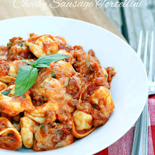 Slow Cooker Cheesy Sausage Tortellini.
