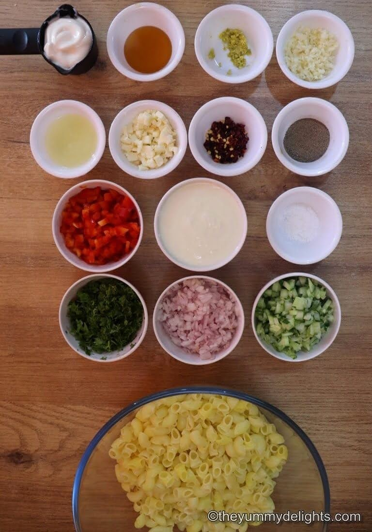 close up of macaroni salad ingredients