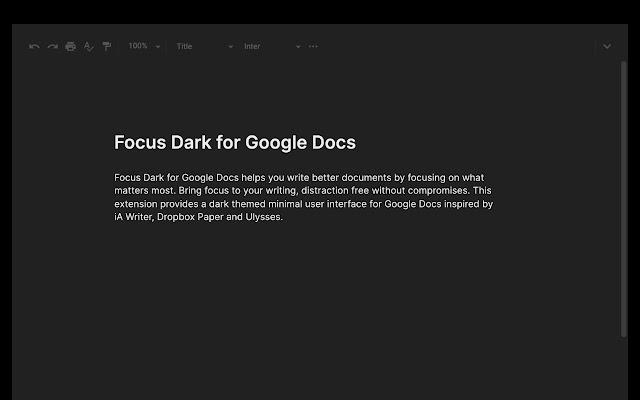 Focus Dark for Google Docs