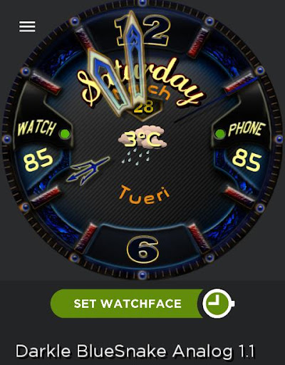 Darkle BlueSnake Watch Face