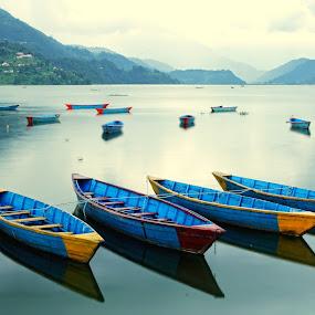 Boats of Nepal by Nguyen Kien - Landscapes Travel ( pokhara, mountain, lake, boat, nepal )