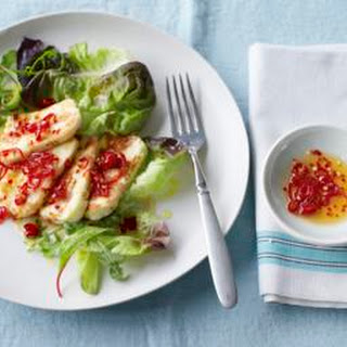 Halloumi And Mango With A Minty Dressing.
