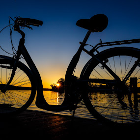 Beautiful Evening for a Ride by Olga Gerik - Transportation Bicycles ( silhouette, sunset, bicycle,  )
