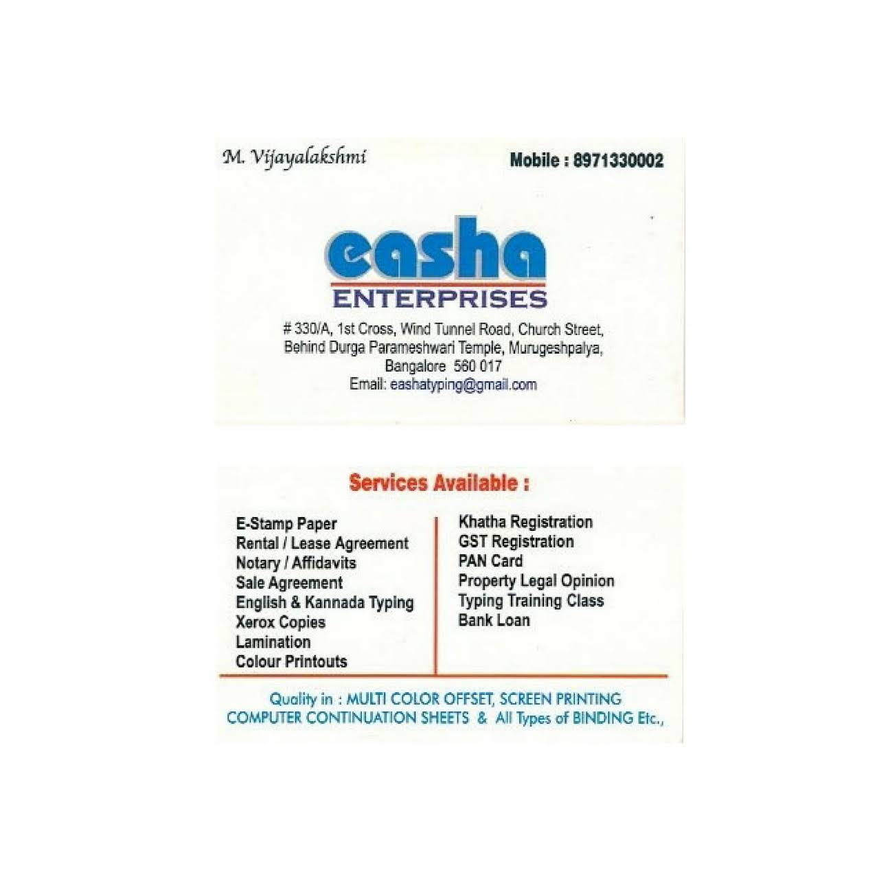 Easha Enterprises Legal Services In Bangalore