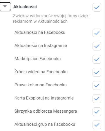 Umiejscowienia reklam na Facebooku - aktualności (screen)