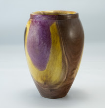 "Photo: Tim Aley 4"" x 6"" vase [walnut and dye]"