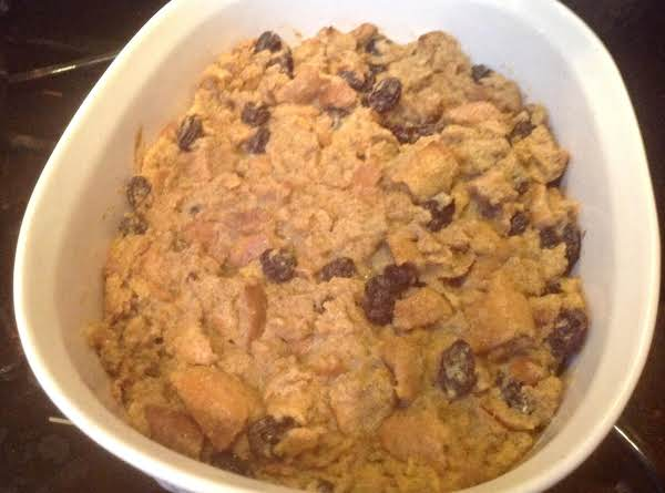 Sugar Free Whole Grain Bagel Bread Pudding.
