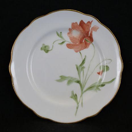 handmålade blomstermotiv Assiett 15 cm röd