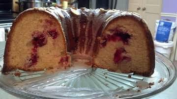 Cranberry Cake with Almond Glaze