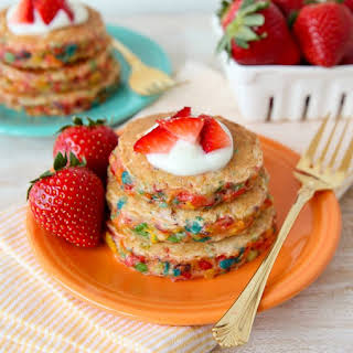 Fruity Pebbles Confetti Pancakes.