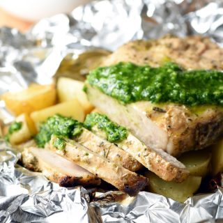 Grilled Pork Chops and Potato Foil Packets with Chimichurri Sauce Recipe