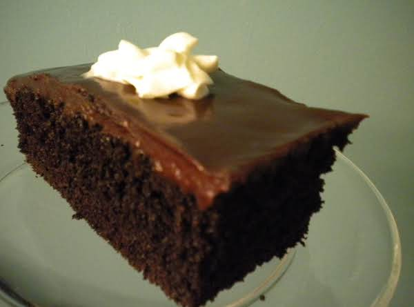 Dark Fudge Cake With Semisweet Ganache Glaze