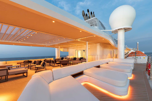 Look for new horizons and chat up new acquaintances on the upper deck of Silver Origin.