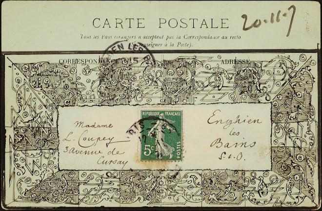 <p> <strong>L&eacute;on Coupey<br /> To Madame L. Coupey (Enghien les Bains)</strong><br /> Ink on card<br /> 3 &frac12;&quot; x 5 &frac12;&quot;<br /> 1907</p> <p> Collection Karim Barbir, Houston<br /> Estate of Marguerite Coupey Barbir, Montreal<br /> Set 3B.6&nbsp;</p>