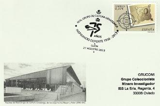 Photo: Matasellos del 75 aniversario del Real Grupo de Cultura Covadonga de Gijón