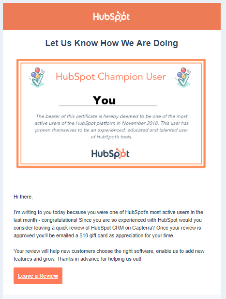 variant B of the hubspot notification AB test
