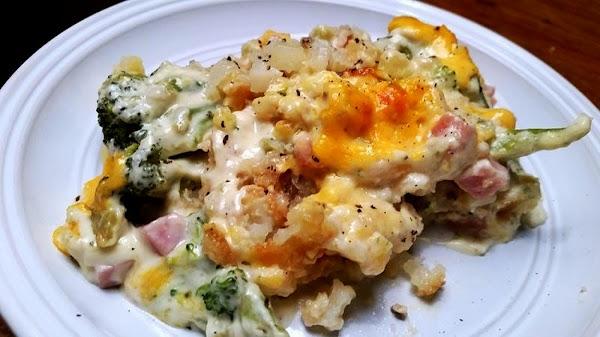 ~ Cheesy Broccoli, Ham & Tater Tot Casserole ~ Recipe