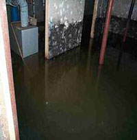 A flooded basement