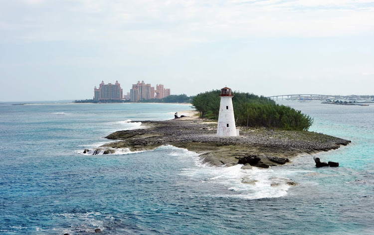 Passing a lighthouse during a cruise into Nassau, the Bahamas.