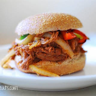 Slow Cooker Pulled Pork Sandwich.