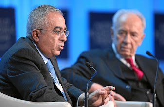 Photo: DAVOS/SWITZERLAND, 26JAN12 - Shimon Peres(R), President of Israel listens to Salam Fayyad, Prime Minister of the Palestinian Authority, captured during the session 'Special Conversation: Prospects for Peace in the New Middle East Context' at the Annual Meeting 2012 of the World Economic Forum at the congress centre in Davos, Switzerland, January 26, 2012.  Copyright by World Economic Forum swiss-image.ch/Photo by Remy Steinegger