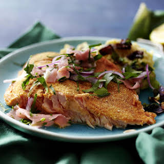 Indian Spiced Salmon with Potato-Onion Mash and Ginger Salad.