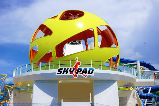 Mariner_Skypad.jpg - The Sky Pad, a technologically enhanced trampoline bungee, is open to cruisers 5 years and older and allows you to get some serious air-time as you compete in one of several virtual reality games.