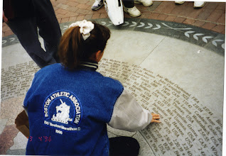 "Photo: 100th Boston Marathon Anniversary, 1996, monument, ""winners' circle"""