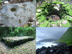 Photo: Ta'u, AS - June 21, 2013 - [tl] Holes left from grinding taro and kava  [tr] A well  [bl] A mass grave for any human remains found while building the road to the southeast point  [br] View of the southern coast from Tufu Point