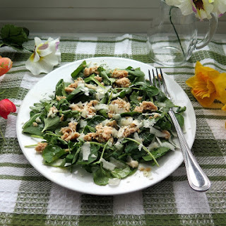 Flaked Salmon Arugula Spinach Watercress Salad.