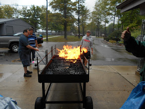 Photo: Getting the grill ready for chicken.