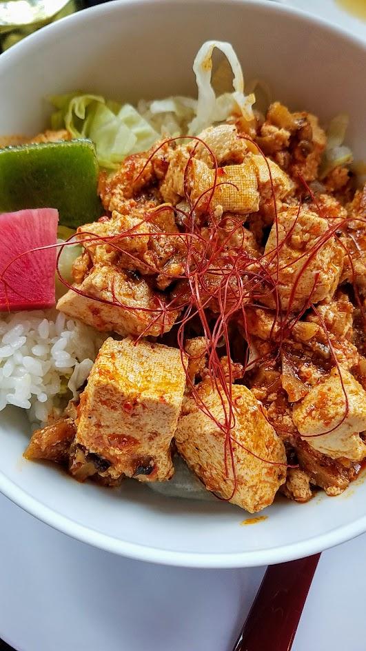 Marukin Ramen Updated Menu addition of vegan mapo tofu over rice