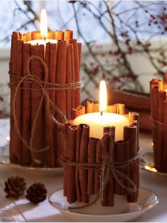 Danish white pillar decorated with cinnamon sticks